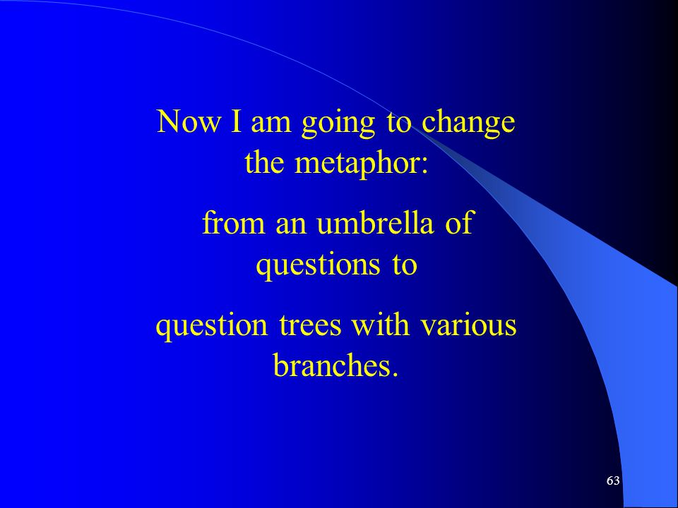 63 Now I am going to change the metaphor: from an umbrella of questions to question trees with various branches.