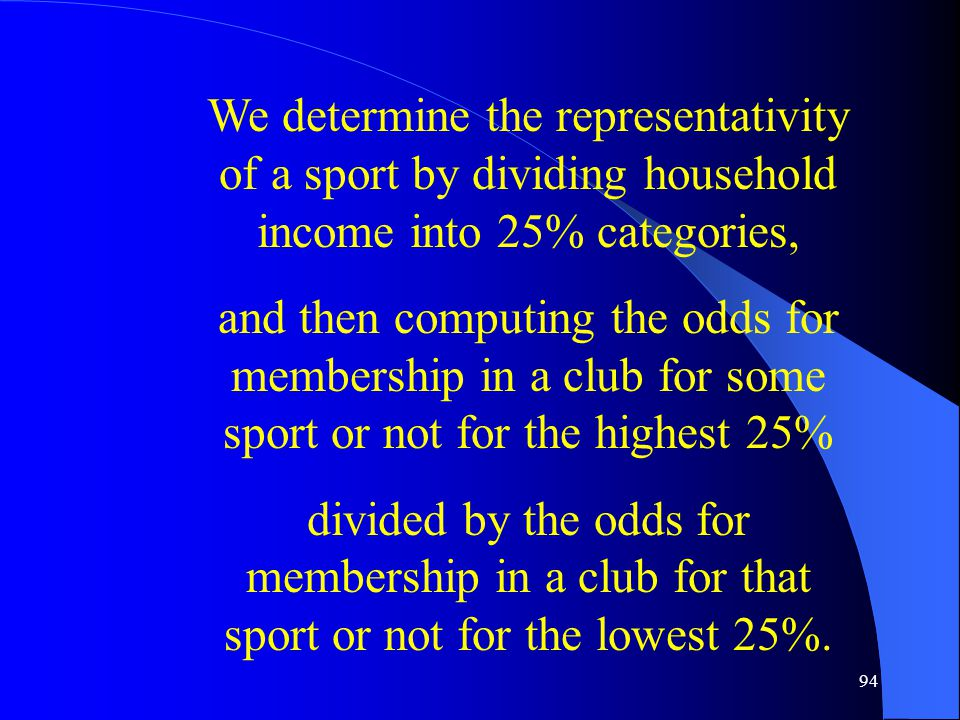 94 We determine the representativity of a sport by dividing household income into 25% categories, and then computing the odds for membership in a club for some sport or not for the highest 25% divided by the odds for membership in a club for that sport or not for the lowest 25%.