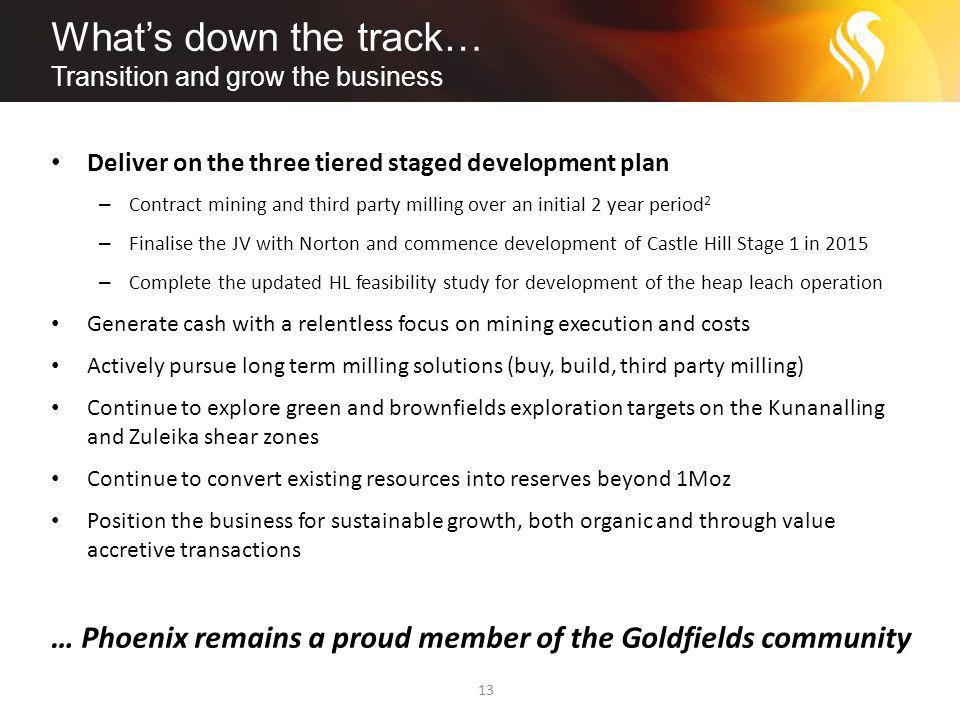 What's down the track… Transition and grow the business 13 Deliver on the three tiered staged development plan – Contract mining and third party milling over an initial 2 year period 2 – Finalise the JV with Norton and commence development of Castle Hill Stage 1 in 2015 – Complete the updated HL feasibility study for development of the heap leach operation Generate cash with a relentless focus on mining execution and costs Actively pursue long term milling solutions (buy, build, third party milling) Continue to explore green and brownfields exploration targets on the Kunanalling and Zuleika shear zones Continue to convert existing resources into reserves beyond 1Moz Position the business for sustainable growth, both organic and through value accretive transactions … Phoenix remains a proud member of the Goldfields community