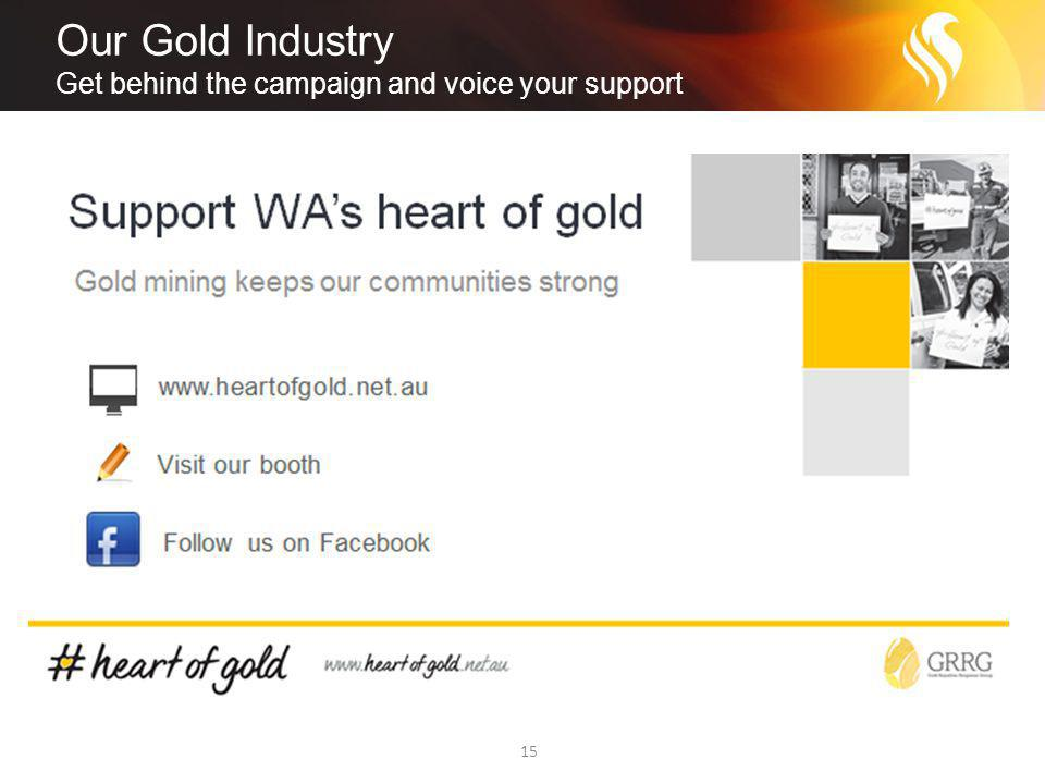 Our Gold Industry Get behind the campaign and voice your support 15