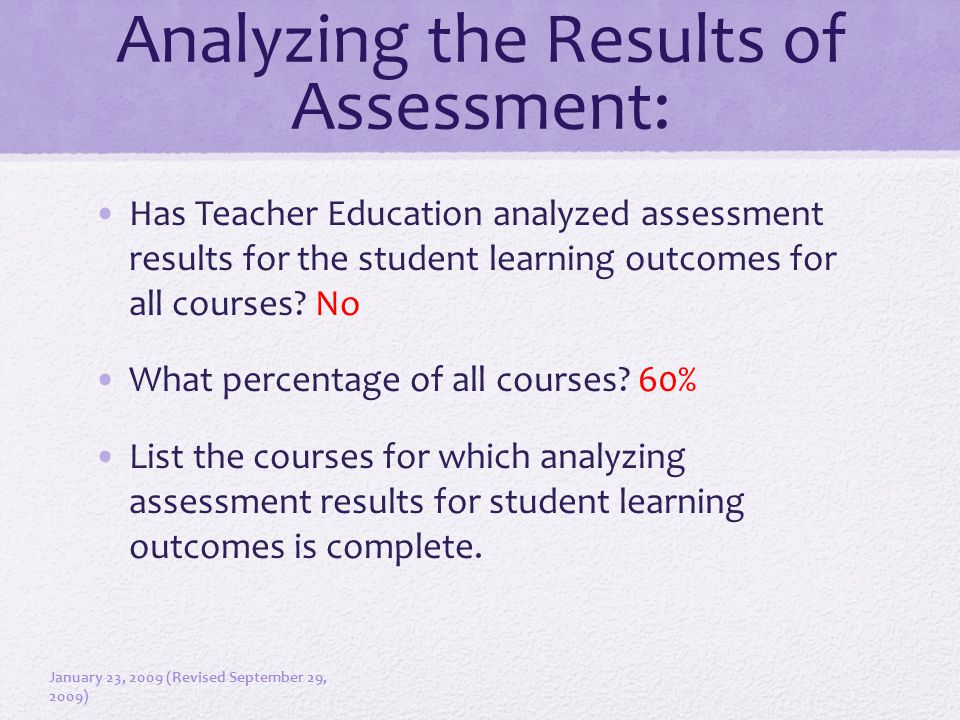 Analyzing the Results of Assessment: Has Teacher Education analyzed assessment results for the student learning outcomes for all courses? No What perc