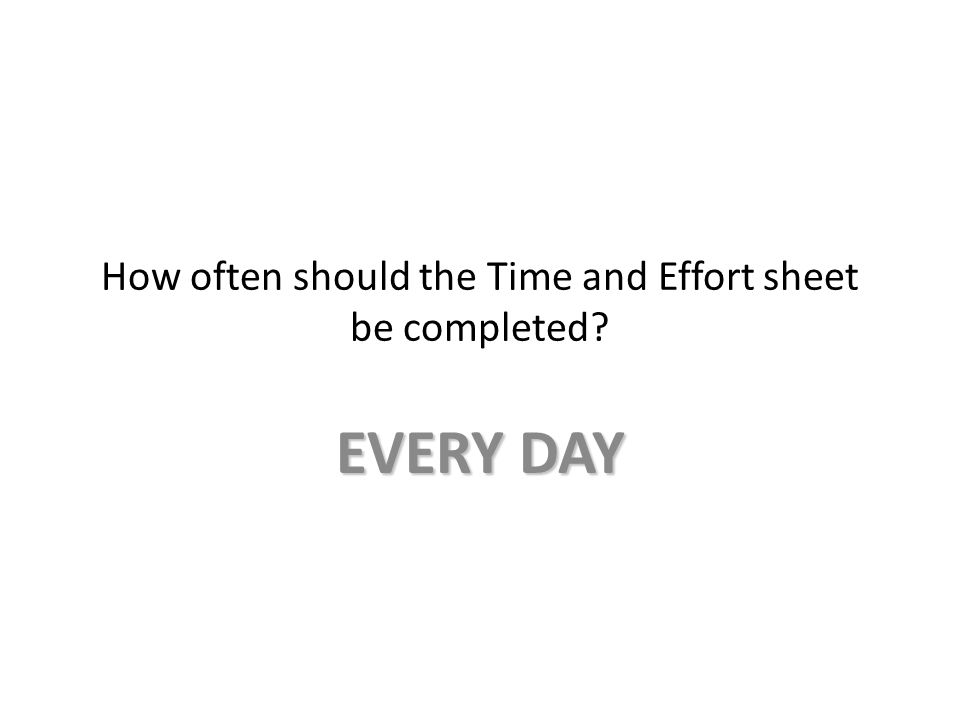 How often should the Time and Effort sheet be completed? EVERY DAY
