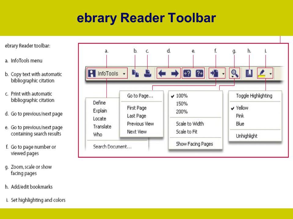 ebrary Reader Toolbar