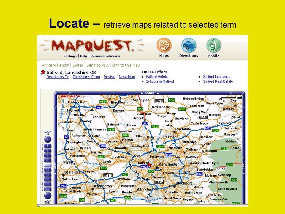 Locate – retrieve maps related to selected term