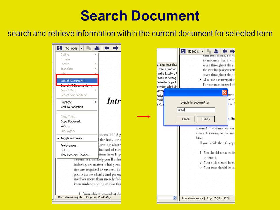 Search Document search and retrieve information within the current document for selected term
