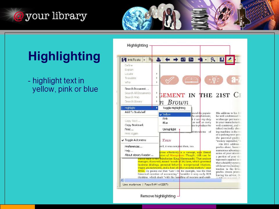 Highlighting - highlight text in yellow, pink or blue