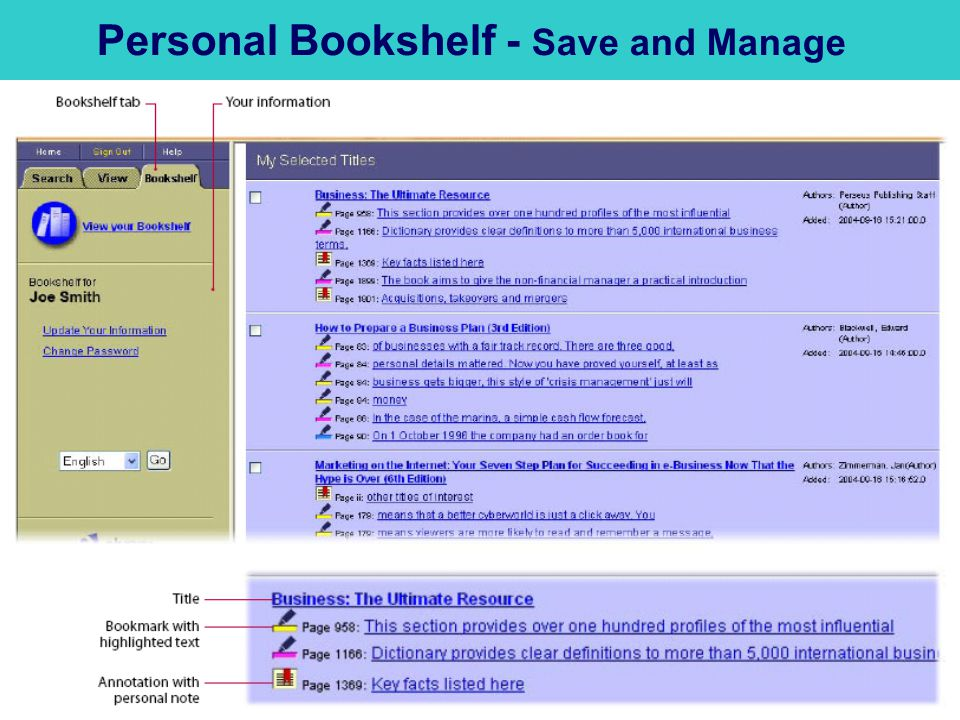 Personal Bookshelf - Save and Manage