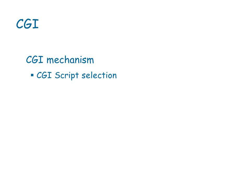 CGI CGI mechanism  CGI Script selection