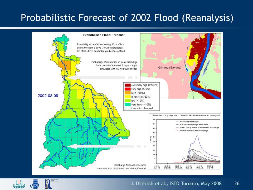 J. Dietrich et al., ISFD Toronto, May 2008 Probabilistic Forecast of 2002 Flood (Reanalysis) 26