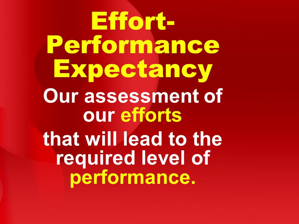 Effort- Performance Expectancy Our assessment of our efforts that will lead to the required level of performance.
