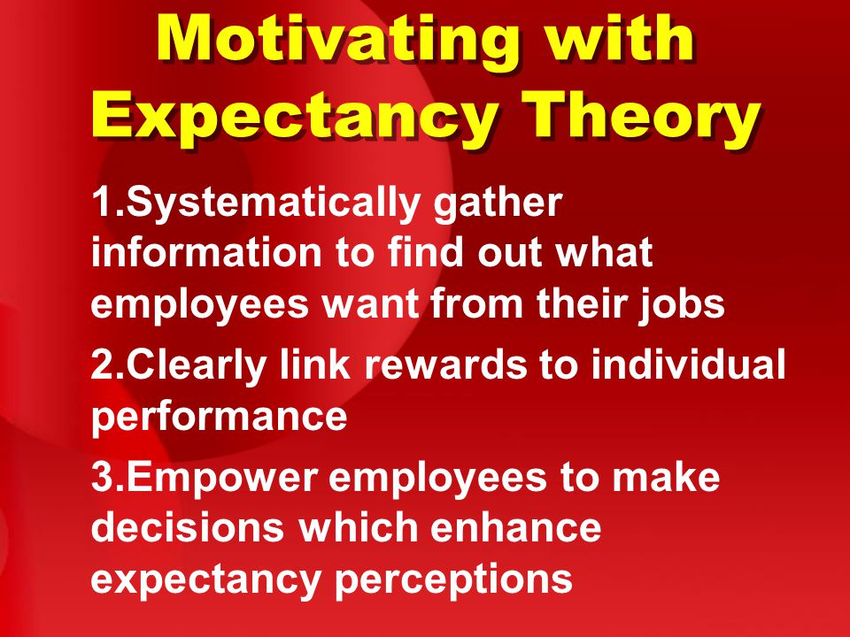 Motivating with Expectancy Theory 1.Systematically gather information to find out what employees want from their jobs 2.Clearly link rewards to indivi