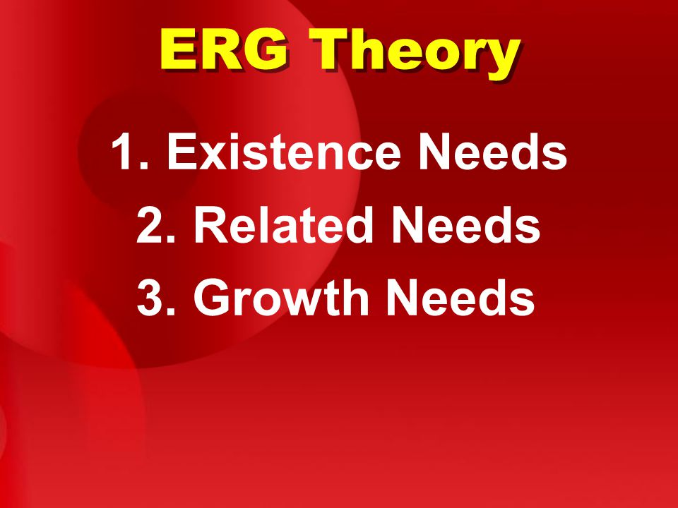 ERG Theory 1. Existence Needs 2. Related Needs 3. Growth Needs