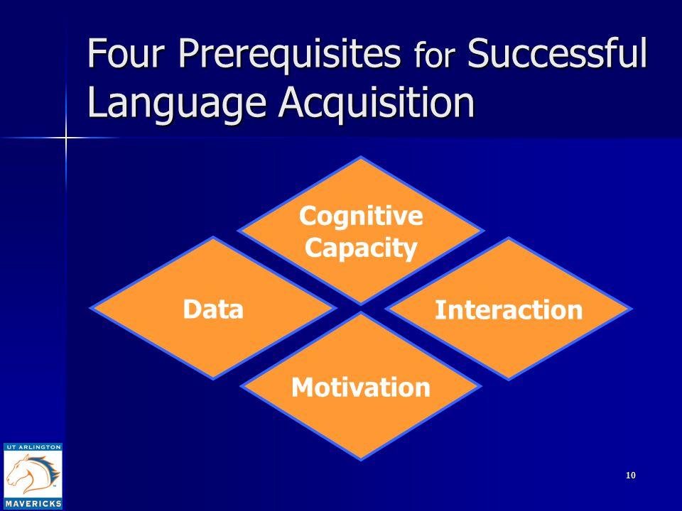 10 Four Prerequisites for Successful Language Acquisition Cognitive Capacity Interaction Data Motivation