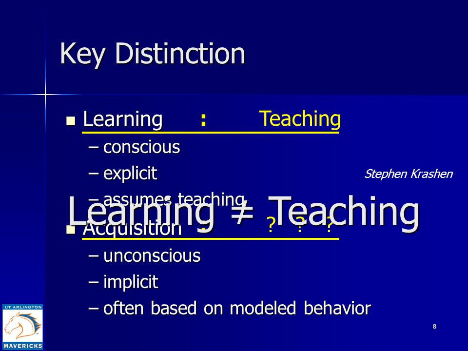 8 Key Distinction Learning Learning –conscious –explicit –assumes teaching Acquisition Acquisition –unconscious –implicit –often based on modeled behavior : Teaching : .