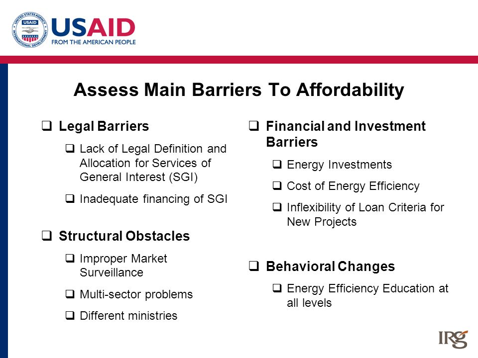 Assess Main Barriers To Affordability  Legal Barriers  Lack of Legal Definition and Allocation for Services of General Interest (SGI)  Inadequate f