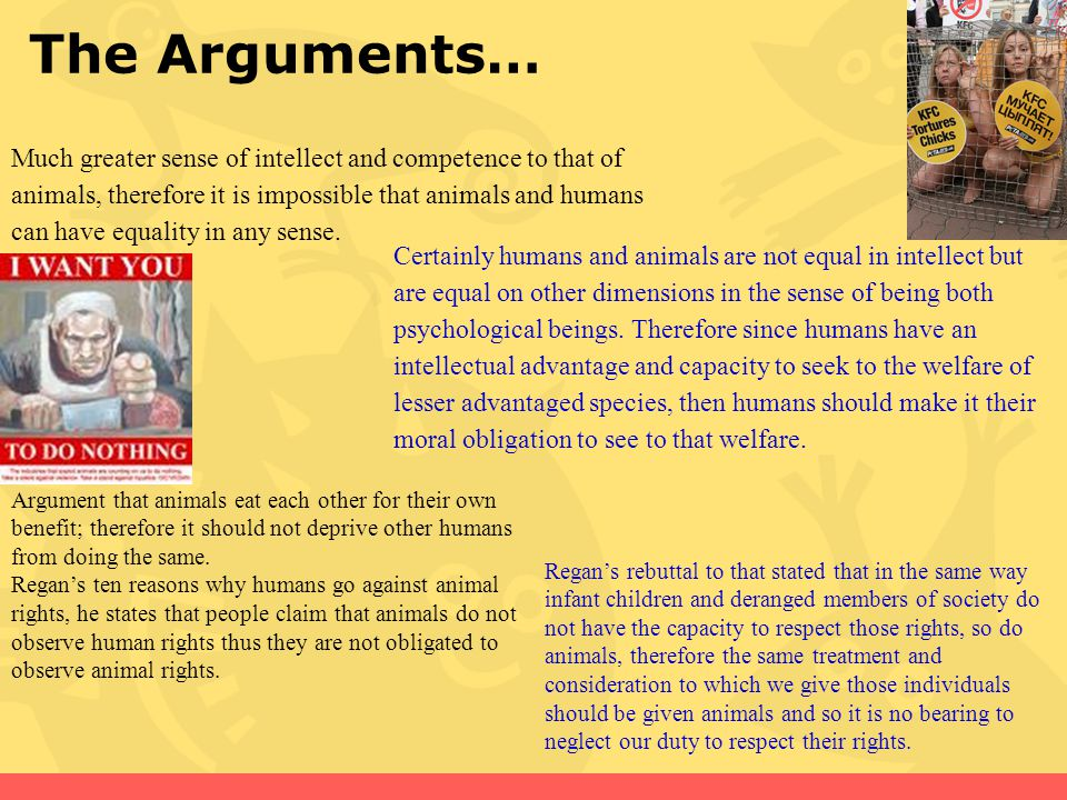 The Arguments… Much greater sense of intellect and competence to that of animals, therefore it is impossible that animals and humans can have equality