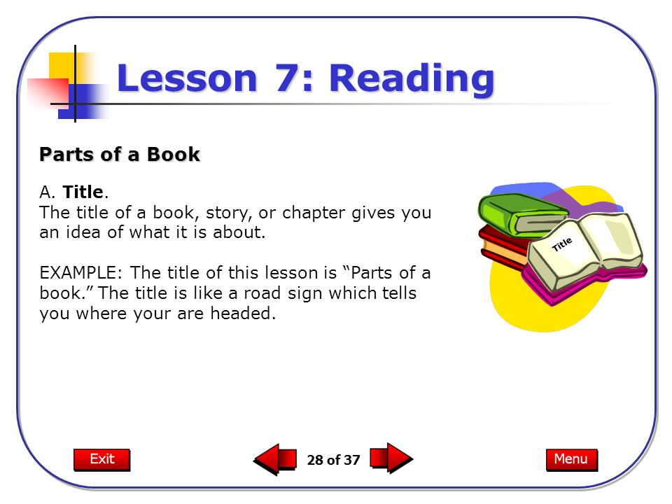 """28 of 37 A. Title. The title of a book, story, or chapter gives you an idea of what it is about. EXAMPLE: The title of this lesson is """"Parts of a book"""