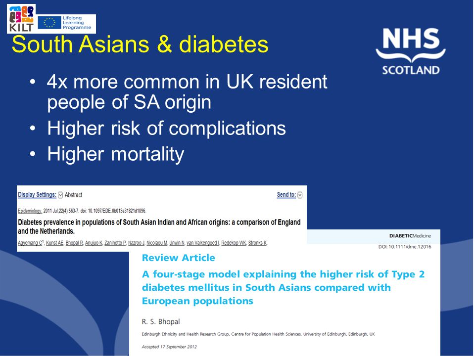 South Asians & diabetes 4x more common in UK resident people of SA origin Higher risk of complications Higher mortality