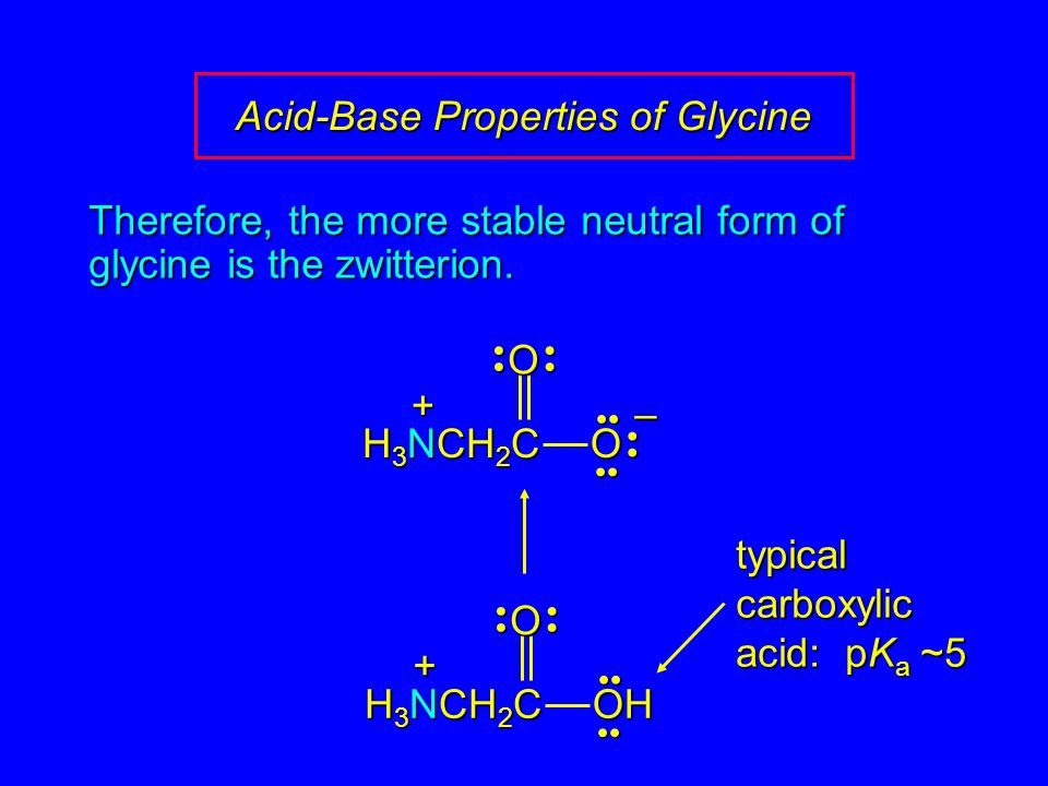 Acid-Base Properties of Glycine Therefore, the more stable neutral form of glycine is the zwitterion. OOH H 3 NCH 2 C + typical carboxylic acid: pK a