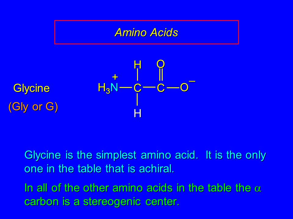 Amino Acids CCOO – H H H3NH3NH3NH3N + Glycine is the simplest amino acid. It is the only one in the table that is achiral. In all of the other amino a