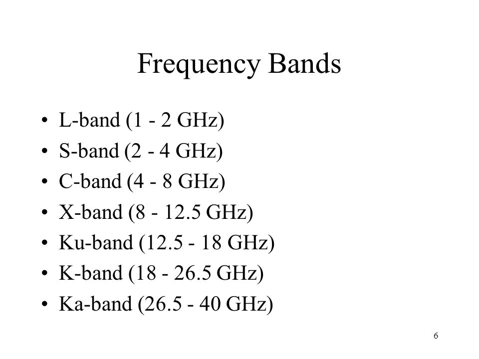 Frequency Bands L-band (1 - 2 GHz) S-band (2 - 4 GHz) C-band (4 - 8 GHz) X-band (8 - 12.5 GHz) Ku-band (12.5 - 18 GHz) K-band (18 - 26.5 GHz) Ka-band (26.5 - 40 GHz) 6