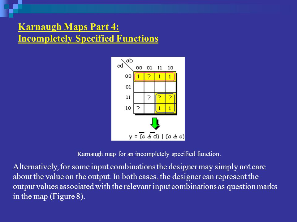 Karnaugh Maps Part 4: Incompletely Specified Functions Alternatively, for some input combinations the designer may simply not care about the value on