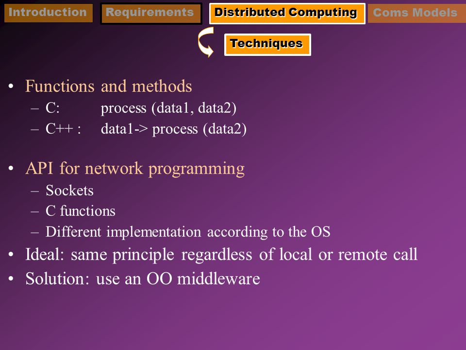 Functions and methods –C: process (data1, data2) –C++ : data1-> process (data2) API for network programming –Sockets –C functions –Different implementation according to the OS Ideal: same principle regardless of local or remote call Solution: use an OO middleware IntroductionRequirements Distributed Computing Techniques Coms Models