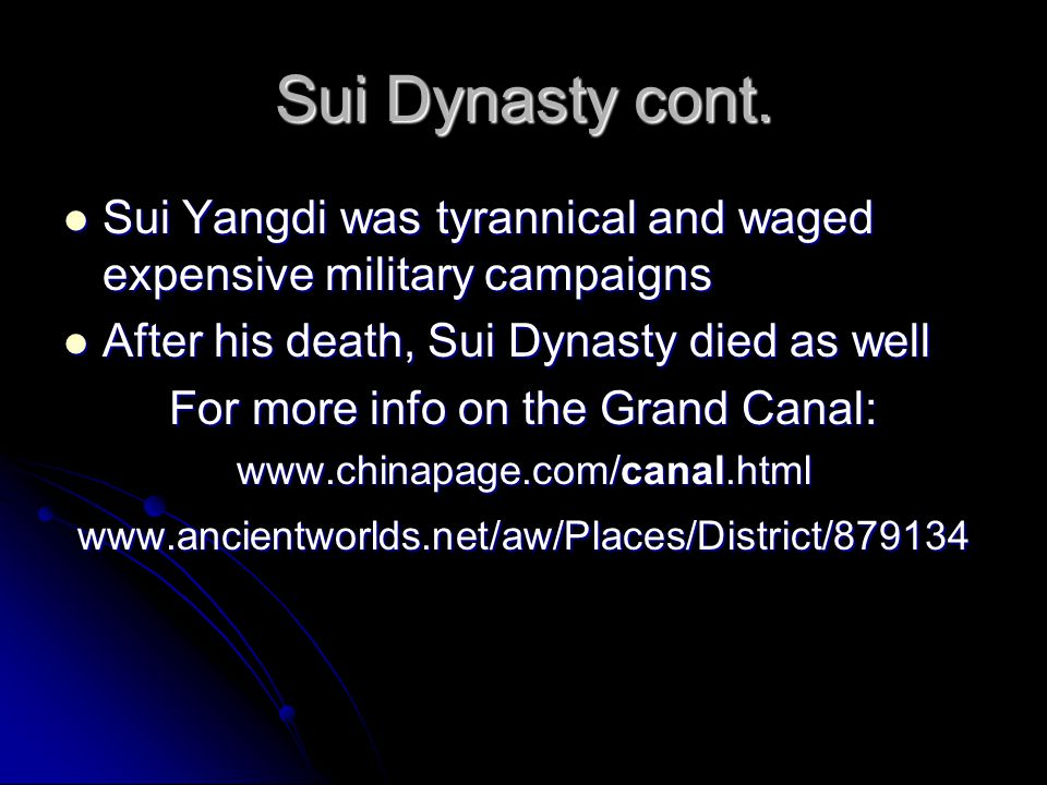 Tang Dynasty (618-907) Founded by Li Yuan Founded by Li Yuan Pushed aside by son Li Shimin Pushed aside by son Li Shimin Took title Tang Taizong Took title Tang Taizong Expanded empire-.