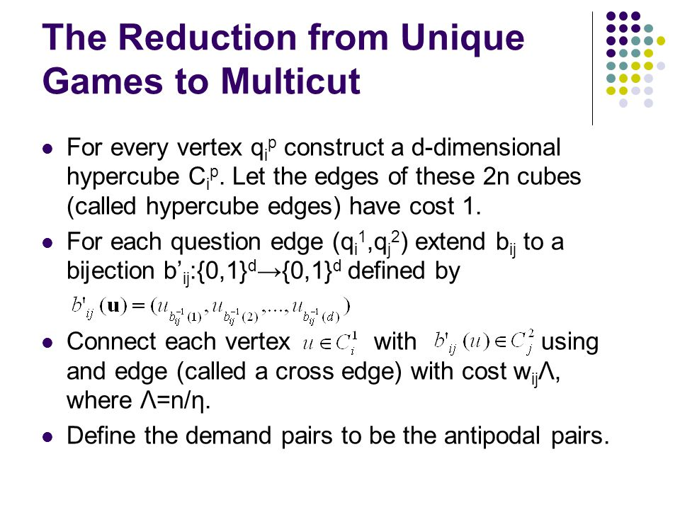 The Reduction from Unique Games to Multicut For every vertex q i p construct a d-dimensional hypercube C i p.