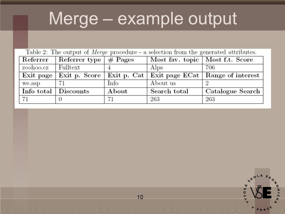 10 Merge – example output