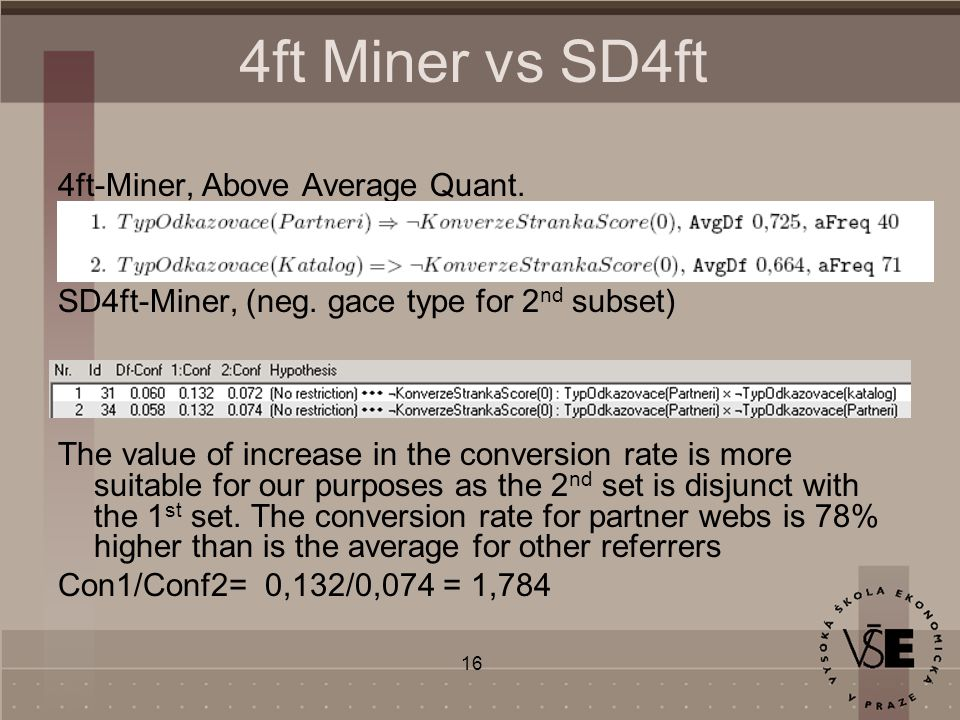 16 4ft Miner vs SD4ft 4ft-Miner, Above Average Quant.