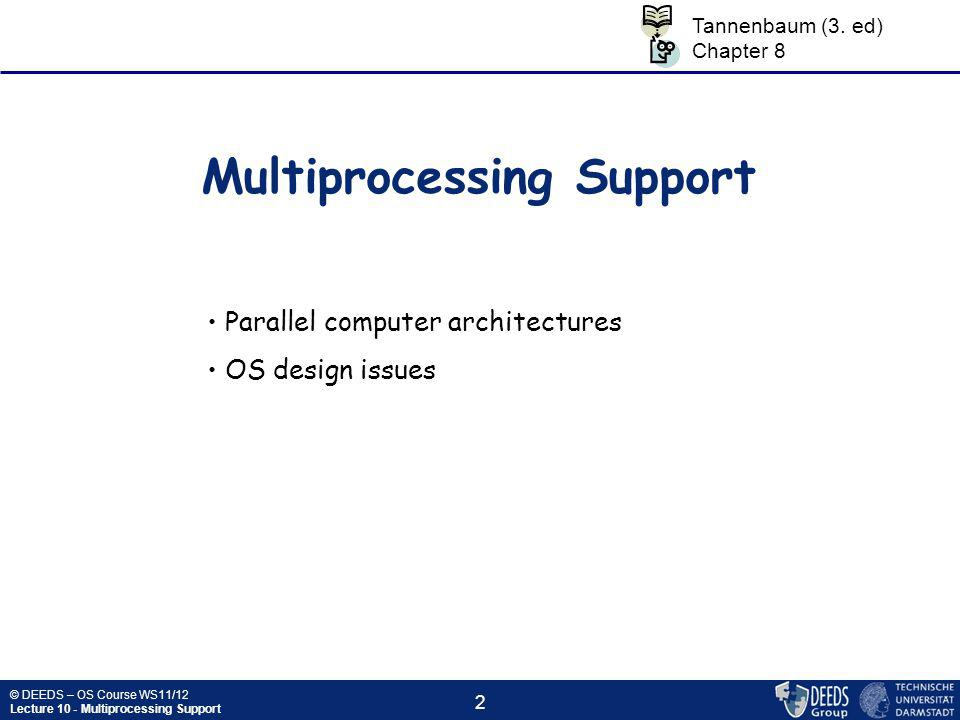 © DEEDS – OS Course WS11/12 Lecture 10 - Multiprocessing Support 3 Parallel computer architectures  Is parallel computing a good idea.