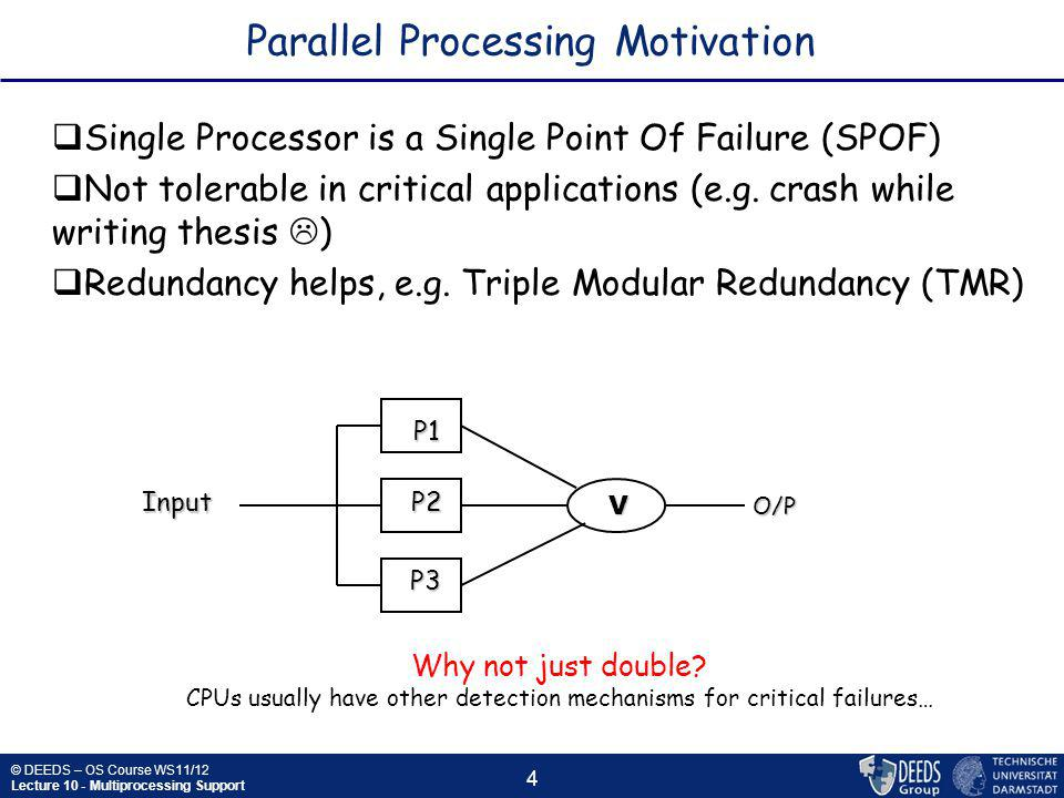 © DEEDS – OS Course WS11/12 Lecture 10 - Multiprocessing Support 25 Multiprocessor Scheduling: Gang Scheduling