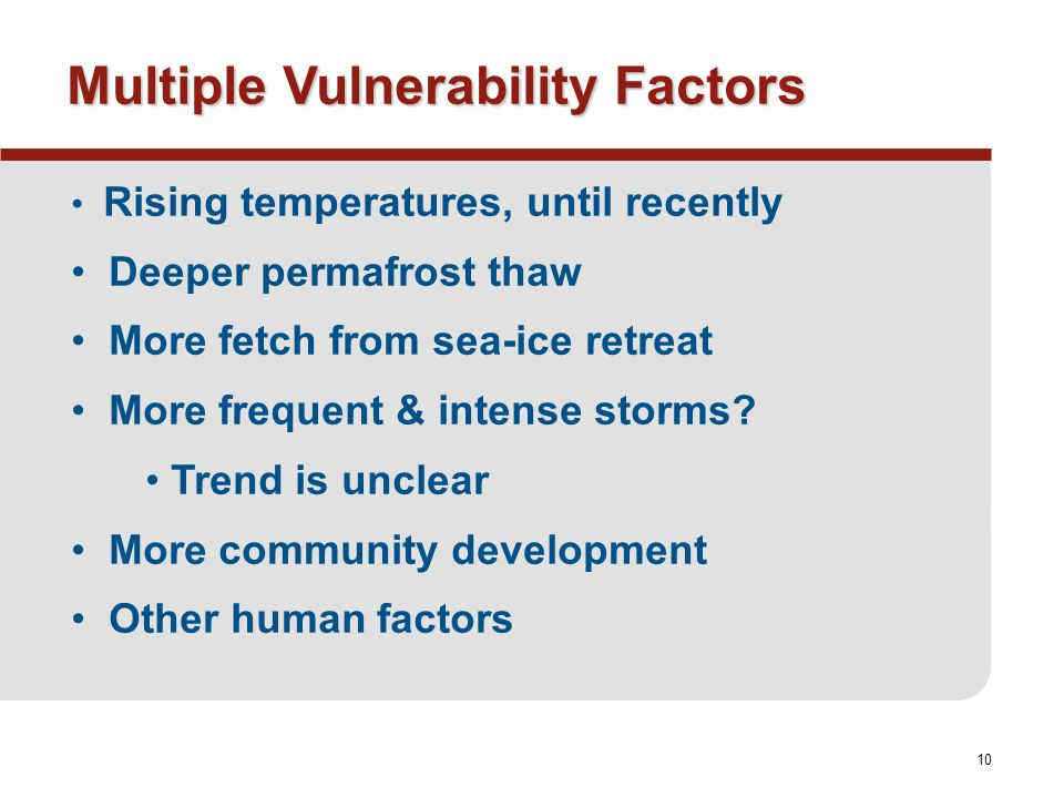 10 Multiple Vulnerability Factors Rising temperatures, until recently Deeper permafrost thaw More fetch from sea-ice retreat More frequent & intense storms.