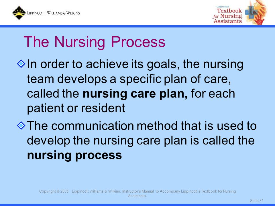 Slide 31 Copyright © 2005. Lippincott Williams & Wilkins. Instructor's Manual to Accompany Lippincott's Textbook for Nursing Assistants. In order to a