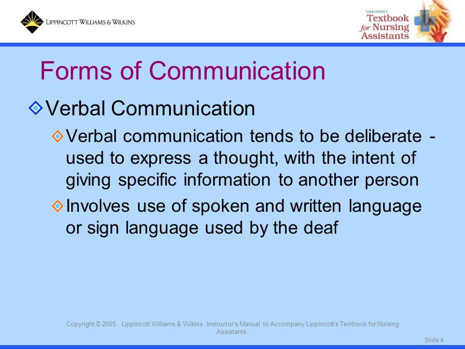 Slide 4 Copyright © 2005. Lippincott Williams & Wilkins. Instructor's Manual to Accompany Lippincott's Textbook for Nursing Assistants. Verbal Communi
