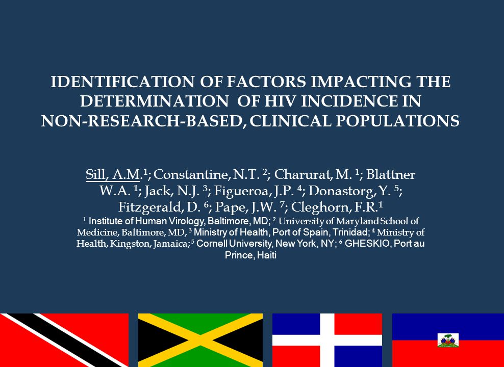 IDENTIFICATION OF FACTORS IMPACTING THE DETERMINATION OF HIV INCIDENCE IN NON-RESEARCH-BASED, CLINICAL POPULATIONS Sill, A.M.