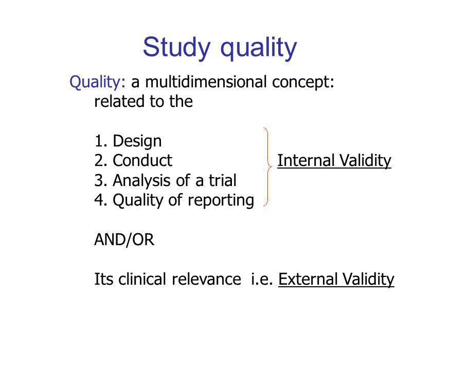 Study quality Quality: a multidimensional concept: related to the 1.Design 2.Conduct Internal Validity 3.Analysis of a trial 4.Quality of reporting AND/OR Its clinical relevance i.e.