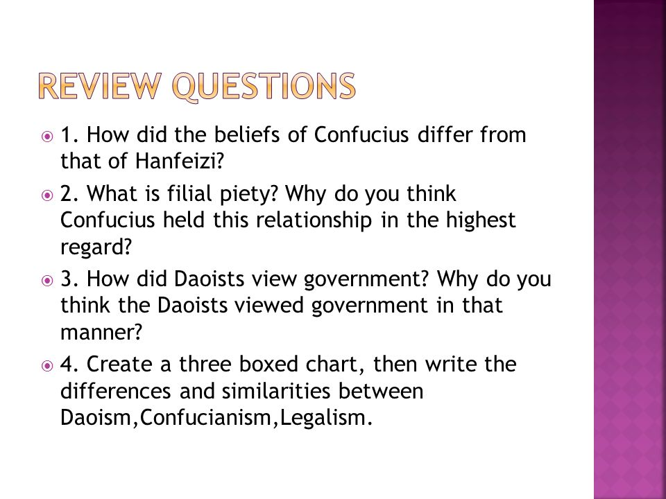  1.How did the beliefs of Confucius differ from that of Hanfeizi.