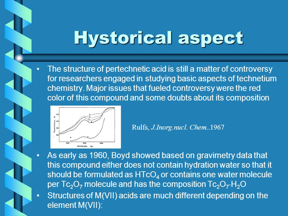 Hystorical aspect The structure of pertechnetic acid is still a matter of controversy for researchers engaged in studying basic aspects of technetium chemistry.