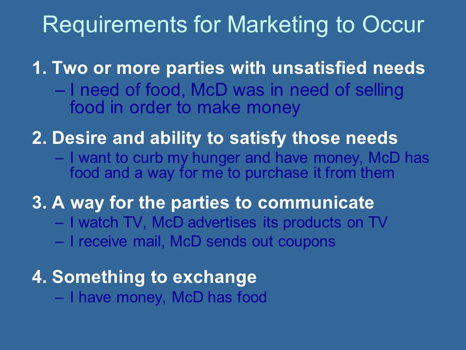 Requirements for Marketing to Occur 1.