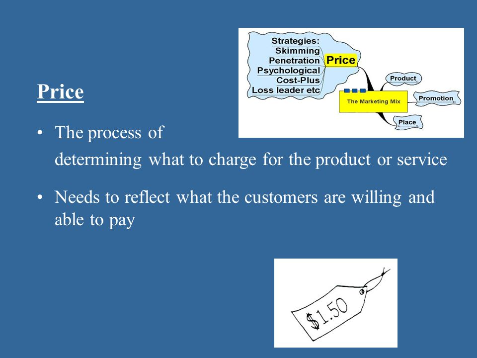 Price The process of determining what to charge for the product or service Needs to reflect what the customers are willing and able to pay