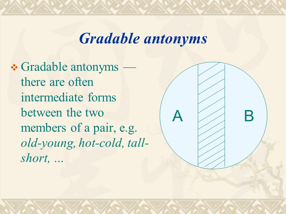 Antonymy  Gradable antonyms — there are often intermediate forms between the two members of a pair, e.g.