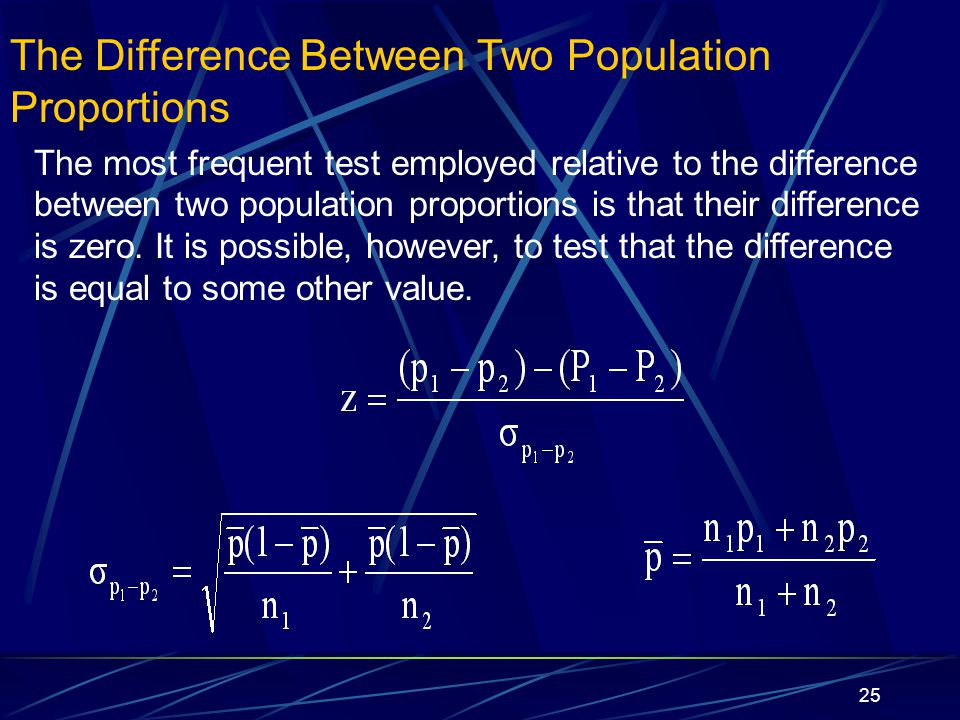 25 The Difference Between Two Population Proportions The most frequent test employed relative to the difference between two population proportions is