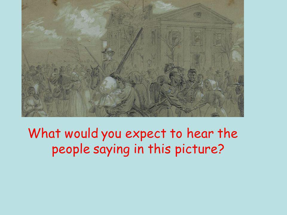 What would you expect to hear the people saying in this picture