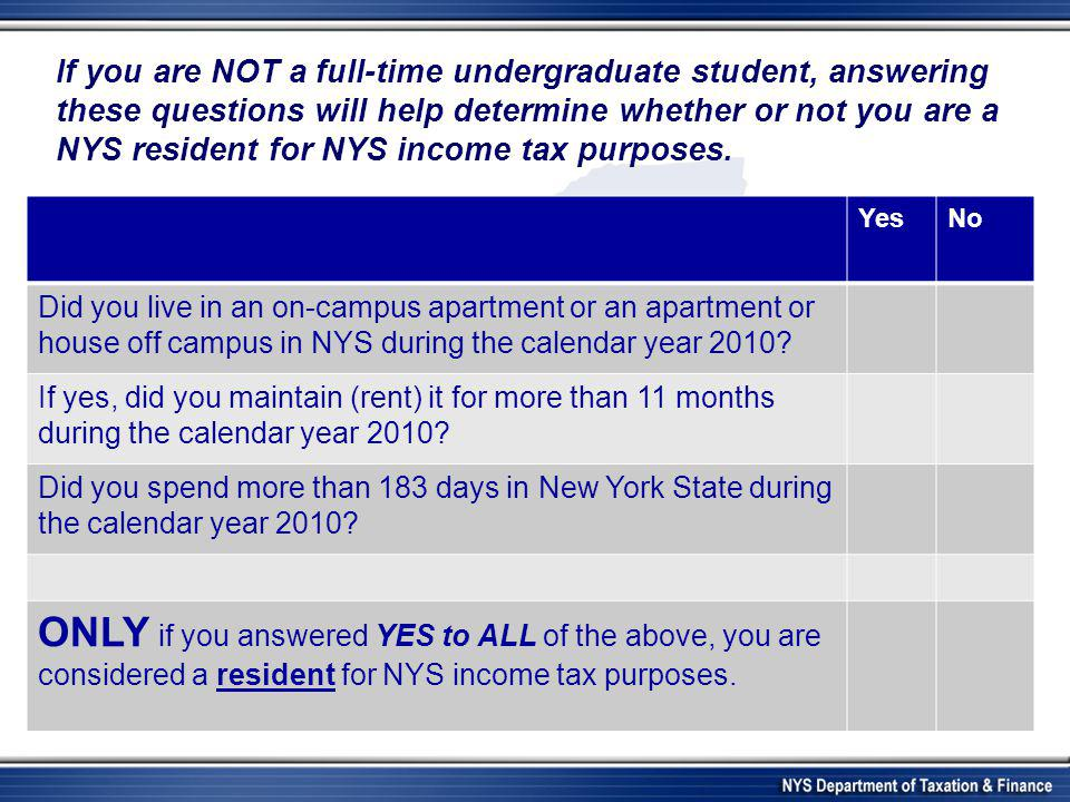 YesNo Did you live in an on-campus apartment or an apartment or house off campus in NYS during the calendar year 2010? If yes, did you maintain (rent)