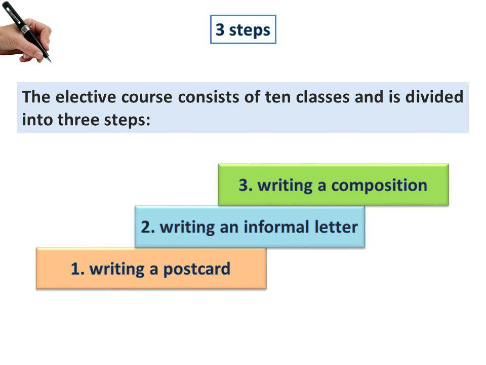The elective course consists of ten classes and is divided into three steps: