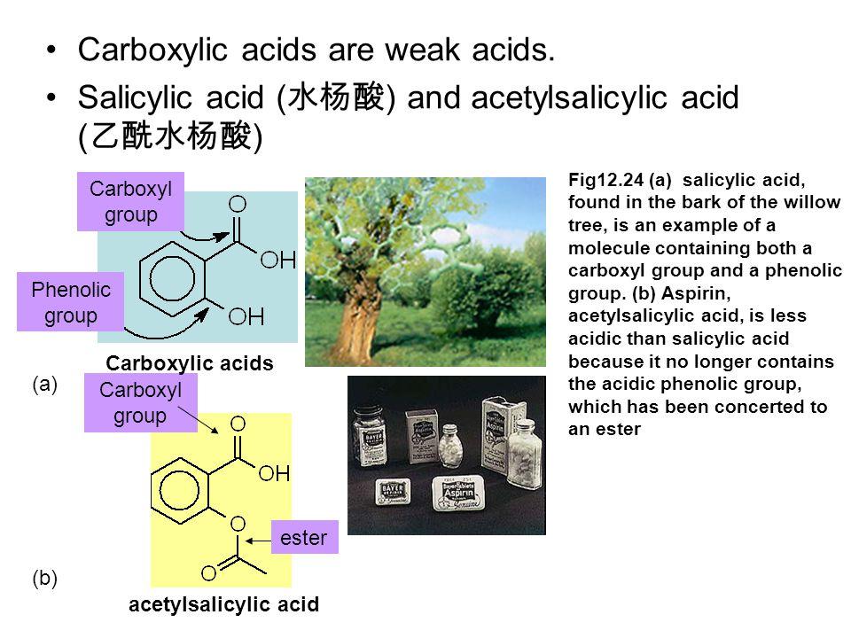 Carboxylic acids are weak acids. Salicylic acid ( 水杨酸 ) and acetylsalicylic acid ( 乙酰水杨酸 ) Carboxyl group ester Carboxylic acids acetylsalicylic acid