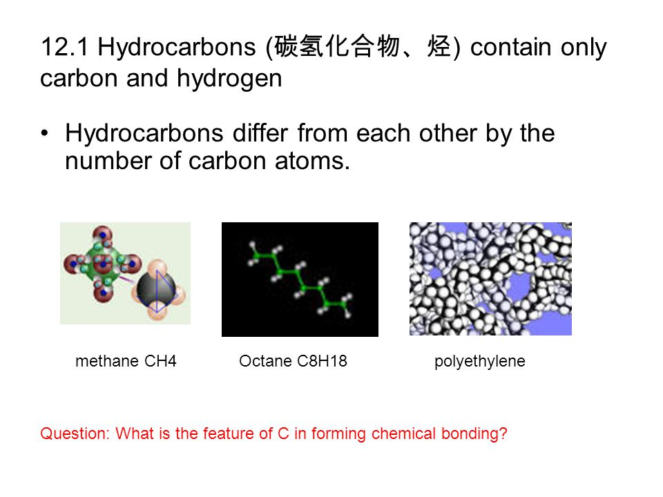 12.1 Hydrocarbons ( 碳氢化合物、烃 ) contain only carbon and hydrogen Hydrocarbons differ from each other by the number of carbon atoms. methane CH4Octane C8