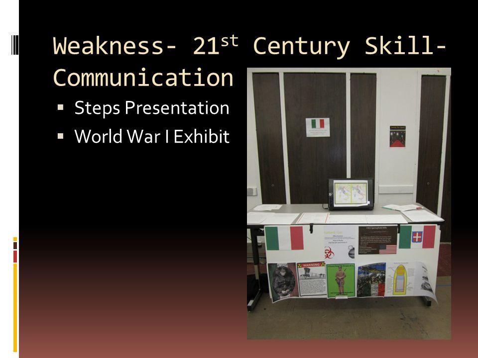 Weakness- 21 st Century Skill- Communication  Steps Presentation  World War I Exhibit